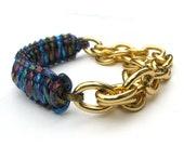 Charley Arm Candy Skyline - Blue Tinted Multi-Color Holographic Glitter Cobra Bracelet - Chunky Gold Chain Bracelet