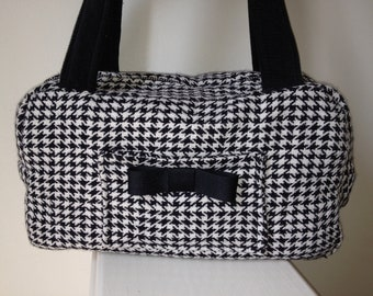 Women's French Classic and Chic Houndstooth Zippered Purse, Fabric Purse, Handbag, Tote