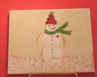 SNOWMAN with PLAID HAT hot plate