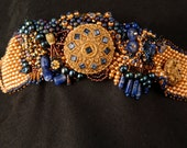 Lapis and Gold Bead Embroidered Bracelet