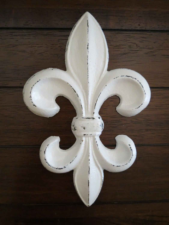 Fleur de Lis Wall Decor / Cast Iron Wall Decor / Fleur de Lis Sign Hanging  / Antique White or Pick Color / French Country Cottage Style