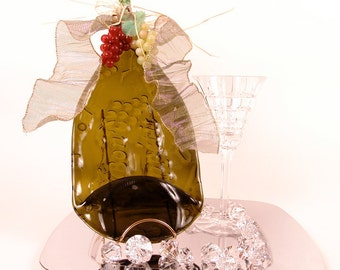 Bon Appetit Wine Flattened Liquor Bottle - Cheese & Cracker Tray w/ Spreader / Bar and Wall Decor / Melted / Slumped / Fused / Upcycled