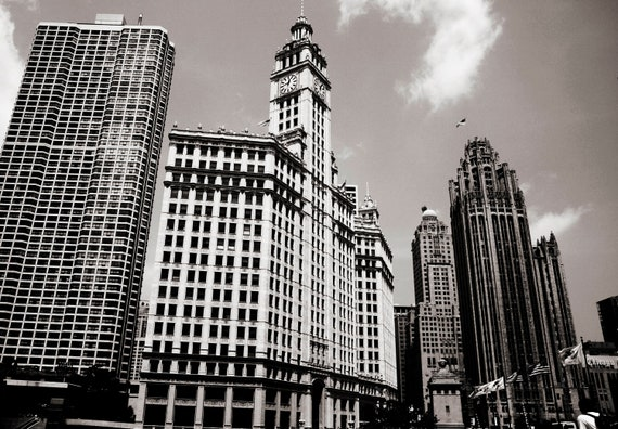 Downtown Chicago in Sepia Architecture