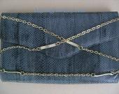 Vintage 1970's Genuine Real Reptile Snake Skin Envelope Clutch Shoulder Bag Blue Grey Color Ladies Evening Handbags Accessories Shop on ETSY