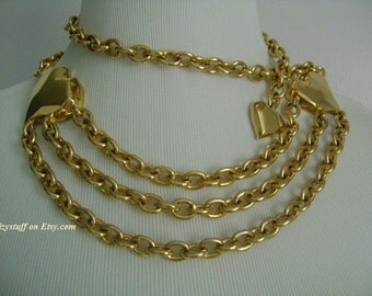 V For VALENTINO Made in USA Haute Couture Goldtone Link Chain Chunky Heart Adjustable Belt or Dramatic Statement Necklace One Size Fits All