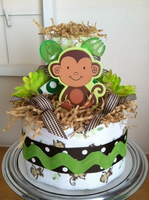 Green brown and white monkey mini diaper cake baby boy - Monkey baby shower cakes for boys ...