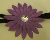 Black and purple flower headband Made to order