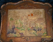 Victorian Hand Stitched Needlepoint Framed Art