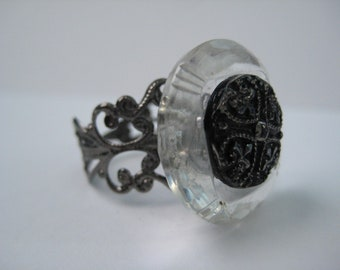 Antique Glass Button Ring