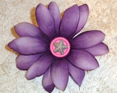 Pet Collar Accessory - Purple Flower With Silver Star Charm - Large