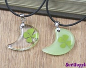 A pair of Real four leaf clover sealed with resin pendant charm beads moon shape lucky leaf 1203