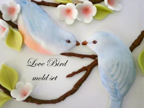 Cake With Fondant Bird : Fondant Molds for Bas Relief Love Bird Couple Wedding Cake