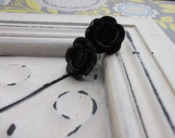 Large Black Rose Earrings
