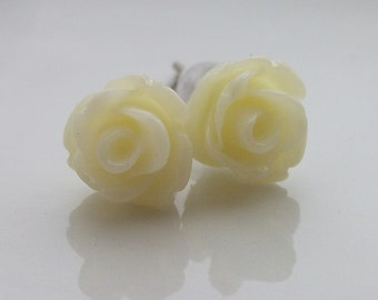 Mini Cream Rose Earrings