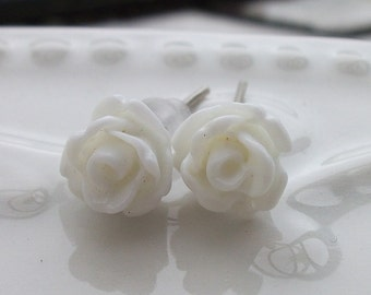 Mini White Rose Earrings