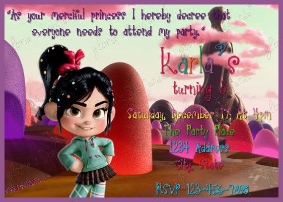Wreck-It Ralph---Vanellope Von Schweetz Party Invitation by Gloria's