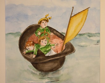 Rub a Dub Dub (classic children's nursery rhyme painted in watercolor)