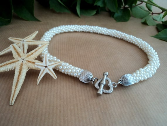 Pearl Bridal Necklace, Seed Beaded Necklace, Rope Snake Necklace, Wedding choker. Ready to shipping.