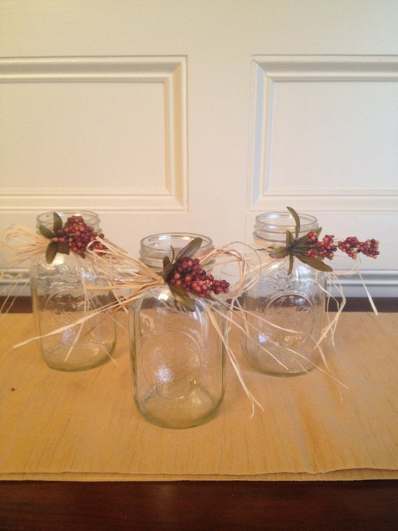 Mason Jars with Beautiful Rustic Look - Set of 3 - Wedding Centerpiece