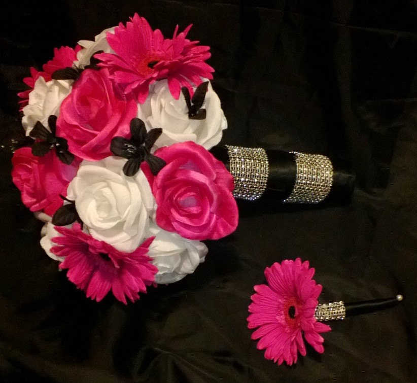 Dark Pink Wedding Flowers: 17 Piece Hot Pink White Rose Wedding Bouquet By