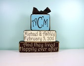 Personalized Happily Ever After Set - Initials, Couples name - Wedding or Anniversary Date- Wood Block Decor Set