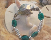 Sea Life Bracelet with green marble,silver flat sone and silver fish.    2012015