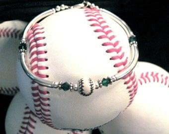 Baseball Bracelet with green Swarovski Crystals.