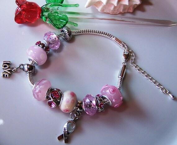 Breast cancer beaded charm bracelet by gusgusenterprise on etsy