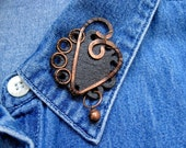 Leather Pin Brooch Leather Jewelry Oxidized Copper Black Floral Heart OOAK
