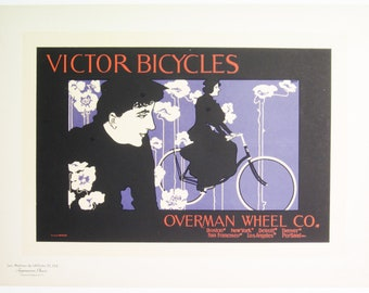 Will Bradley, Original Maitres de L'Affiche Poster, American 1899, Plate No.152, Ad for VICTOR Bicycles of Boston.