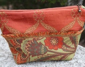 Standing Lined Zipper Pouch, made with Home Dec Fabrics,  For Cosmetics, Wallet, Pencils, Gifts