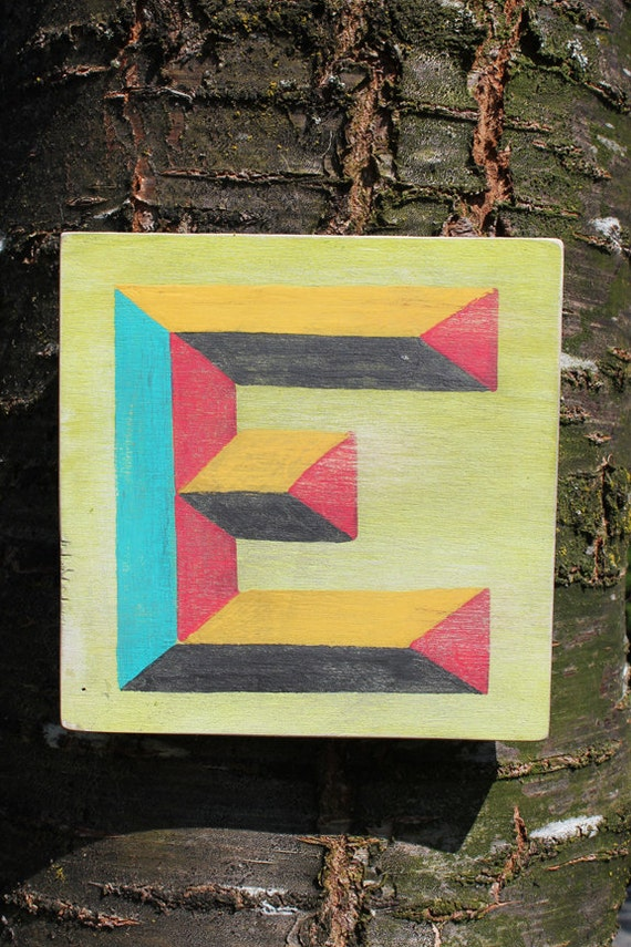 """Letter """"E"""" Hand Painted Folk Art Sign EBSB Pottery Ink"""