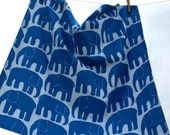 """Baby blanket blue elephants, cotton, flannel.Ready to ship square 69cm/27""""or custom order, can order the same bib, burp cloth, with eco GIFT"""