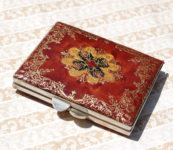 Vintage Powder Compact, Cigarette Case, Brown Leather, Ornate Gold Embossed Floral Pattern, 1940s Hollywood Regency, Purse Accessory