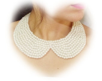 Trends, Gifts Idea Fashion Accessories, Ivory or white Pearl Collar Necklace, Peter Pan Collar Necklace, Handsewn