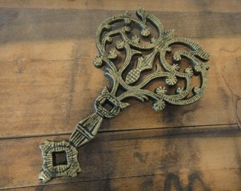 Vintage Folksy Brass Three Footed Trivet