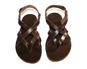 Brown Leather Sandals for Women & Men - Design 2R - Handmade Leather Sandals, Casual Leather Flats, Unisex Sandals, Genuine Leather Sandals