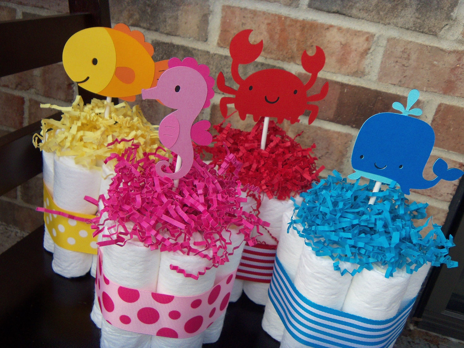 diaper cakes under the sea theme set of 4 by judebugsbabysweets