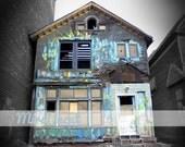 Detroit's Got the Blues - Fine Art Photography Print - Urban House Photo - Black & White - 8 x 10