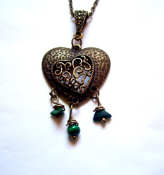 Bronze colour heart pendant necklace with malachite gemstone beads.