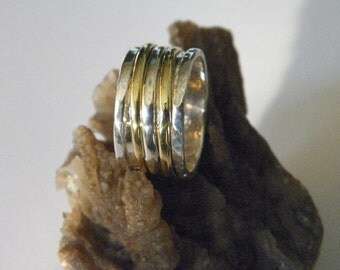Hammered One Sterling Silver and Two Brass Spinner Ring- Stamped.925 Handcrafted