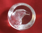 Reserved for Patricia: Swedish Glass Mats Jonasson Bald Eagle Paperweight Signed and Numbered