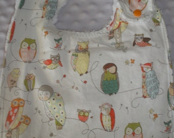 Toddler size side snapping 3 layer Alexander Henry Spotted Owl in Natural Print