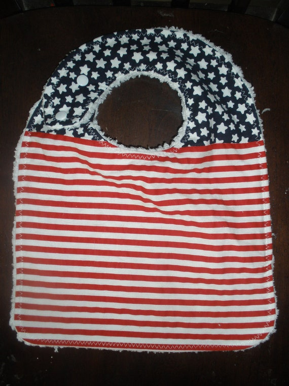 3 layer Side snapping Stars and Stripes Toddler Bib with snaps