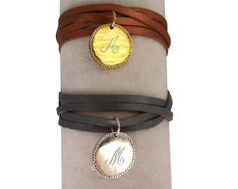 Leather wrap bracelet with an engraved, single initial charm, initial bracelet, monogram jewelry, monogram bracelet