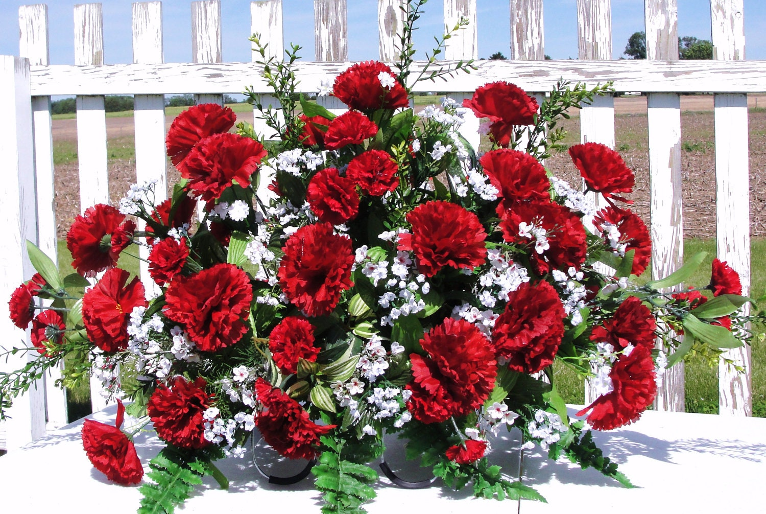 Items Similar To Red Carnation Silk Flower Cemetery Grave
