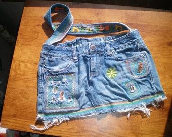 Recycled Denim Hippie Bag w/ Hidden Pocket