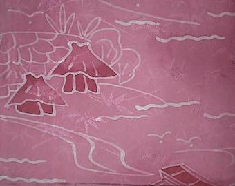 SF 45 Vintage Japanese Huts & Boats Batik Wax Resistant  Rinzo Silk