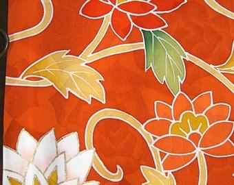 SF136 Vintage Japanese Hand Painted Luscious Lotus on Orange Silk