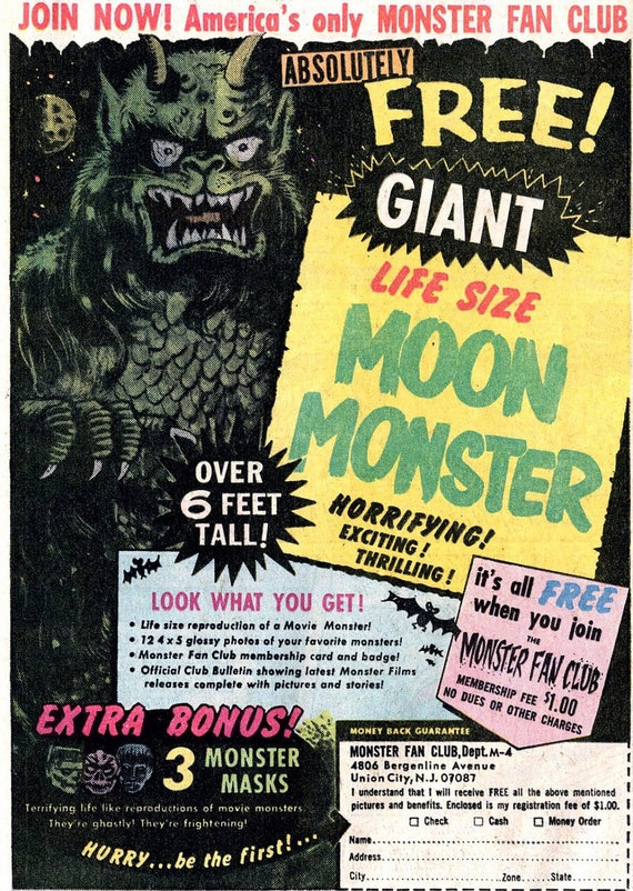 """Halloween Decoration..Horrible Blood Curling 6 foot Tall  """"MOON MONSTER""""  with three FREE Masks"""